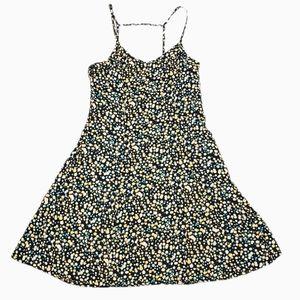 Forever 21 Yellow Black Floral Strap Mini Dress